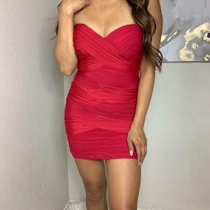 Gorgeous, Draped Red Bebe Bodycon Dress